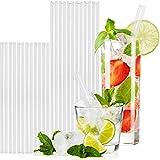 T&N Glas Strohhalm 12er Set - 6/6 Stück 15/20 cm Trinkhalme Glas + 2 Bürsten - Strohhalm wiederverwendbar Glas - umweltfreundlich, mehrweg, BPA frei - Smoothie und Cocktail-Strohhalme Glasstrohalme