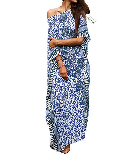 L-Peach Damen Baumwolle Kaftan Langes Kleid Strandkleid Bikini Coverups One Size