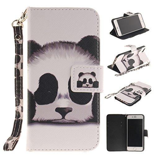 iPhone 7 Coque, Apple iPhone 7 Coque, Lifeturt [ Panda ] Motif Pure Couleur Housse en Cuir Case à Avec La Fonction Stand Coque de Intérieure Protection Souple Coque Portefeuille TPU Silicone Case Cove E2-Panda