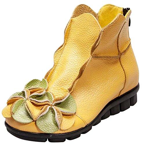 MatchLife Damen Vintage Leder Stiefel Blumen Kurze Boots (EU40/CH41, Style1-Gelb-Fleece) (Front-wetter-stiefel)