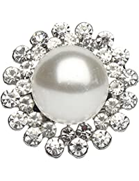 9blings Party Wear Silver Cubic Zirconia Pearl Adjustable Finger Ring