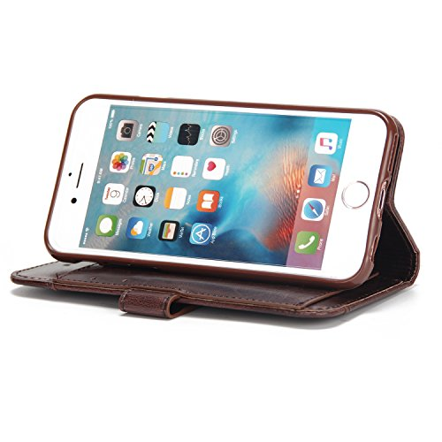 iPhone 6 Plus Hülle Leder, E-Lush Premium PU Leder Tasche für iPhone 6 6S Plus (5,5 zoll) Einfach Einfarbig Muster Klapphülle 360 Full Body Protection Flip Case Wallet Cover Weiche Flexible TPU Soft R braun