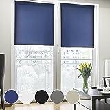 Fensterrollo lichtdurchlässig | Klemmfix ohne Bohren | Rollo für kleine und große Fenster und Türen | Sichtschutzrollo in vielen Farben und Größen ( Blau, 60 cm breit, 150 cm lang )