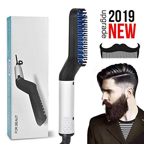 Bartglätter Kamm für Männer - Elektrische schnelle Haarglättung Pinsel Multifunktionale Lockenwickler Kamm (EU) - Ptc-pc