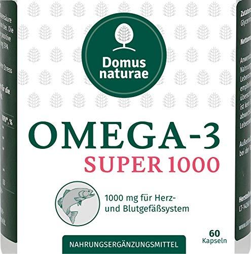 OMEGA-3 SUPER 1000 mg | hochdosierte Fischöl 60 Kapseln | Nahrungsergänzungsmittel mit Fettsäuren und Vitamin E für Herz, Kreislauf, Hirn und Sehkraft