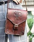 Real leather retro messenger bag in dark brown