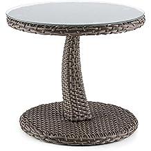 Blumfeldt Tabula - Table d'appoint en rotin synthétique de 43cm de haut avec plateau en verre de 50cm de diamètre - taupe
