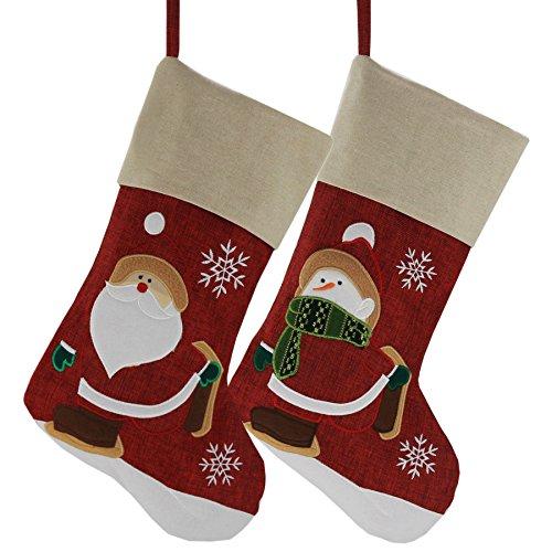 Wewill Marken-klassische Weihnachtsstrümpfe Satz von 2 Sankt, Schneemann-Weihnachtscharakter, 17-Inch/ 45CM(Stil 3) -