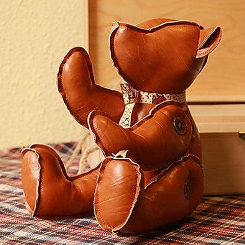 GXS Fantastic cuero marrón PU oso de peluche de juguete de la marioneta