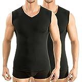 HERMKO 2 x 63050 Herren Athletic Vest by Exclusiv Funktionsunterhemd Muskelshirt mit V-Neck, Farbe:schwarz, Größe:D 5 = EU M