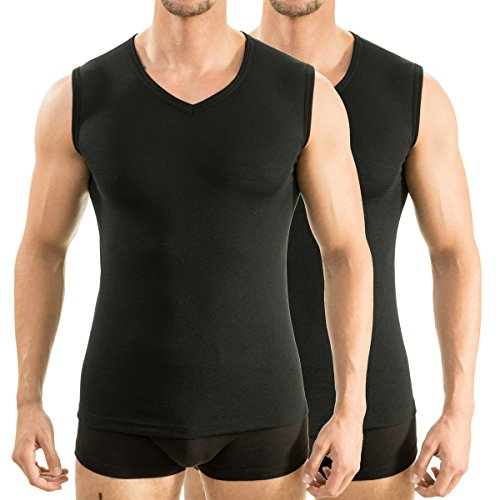 2 x 63050 Herren Athletic Vest by exclusiv HERMKO Funktionsunterhemd Muskelshirt mit V-Neck Schwarz