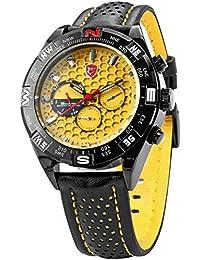 Shark - Montre Homme Sportive - SH083 - Cadran Jaune - Quartz - Date/Jour/ 6 Aiguilles - Bracelet Cuir