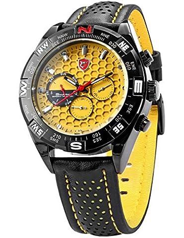 Shark Mens 6 Hands Date Day Yellow Dial Sport Quartz Wrist Watch + Box SH083