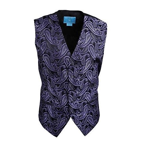 EGC1B07B-S Purple Black Patterned Work-utility Boss Waistcoat Woven Microfiber Various Mens Vests Small Vest By