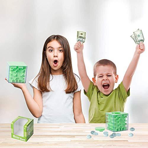 Lustige Geldgeschenke Verpackung Geburtstag, Labyrinth, Abschließbar Spardose – Perfekte 3 in 1 Geldlabyrinth für Kinder & Erwachsene (Grün) - 6