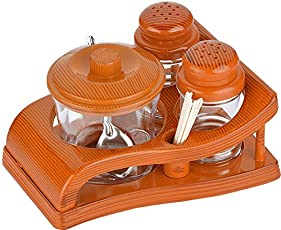 Lomoza Salt & Pepper Stand with One Jar for Pickle, Toothpick Holder (Multicolour)