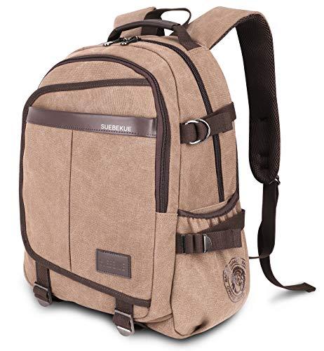 Rucksack Herren, RJEU Canvas Leder Rucksack Reise Wandern Outdoorrucksack Daypacks für 15,6 Zoll Laptop Rucksack für Schule, 20-35L