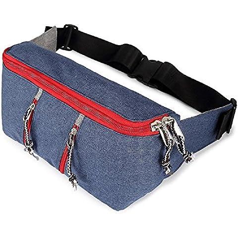 Marsupio della vita 3 tasche con zip di viaggio Escursionismo Outdoor Sport Bum Bag vacanze Borsellino del denaro Hip