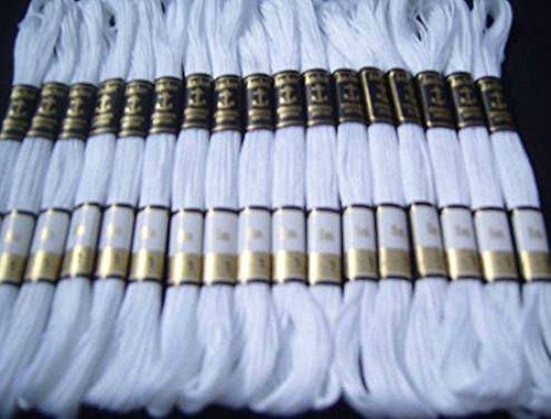 Anchor Nähfaden-Stränge, Baumwoll-Stickgarn/Sticktwist, 25 Stück, weiß, von GCS London -