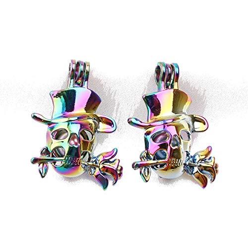 5 Stück Regenbogenfarben Totenkopf Rosen Perlen Käfig Anhänger Parfüm ätherisches Öl Diffusor Medaillons für Austernperlen - Kreis Öl-diffusor