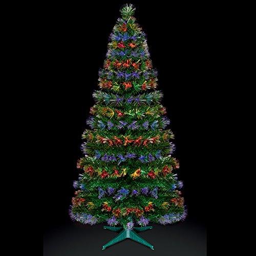 Premier Decorations 6ft Fibre Optic Burst Christmas Tree Red Blue
