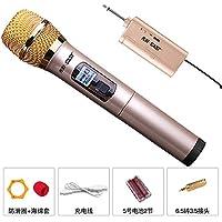 KLXEB Micrófono Inalámbrico Para Casa, Cantando Al Aire Libre,Micrófono Amarillo