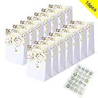 caicainiu 15pack double-sided bronzing gold paper bag gift bag, birthday bride kraft paper bag hen party bag heart tag wedding, 35pack flower sticker (white perfect party bag)
