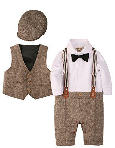 iEFiEL Baby Jungen Taufkleidung f/ür Besondere Anl/ässe Taufe Strampler f/ür Jungen Body Langarm Baumwolle Taufanzug Smoking Anzug Wei/ß