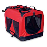 BUNNY BUSINESS Folding Fabric Dog Crate Pet Carrier with Fleece, Large, 27-inch, Red