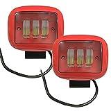 AUFUN LED 2X30W Rot Zusatzscheinwerfer, Quadrat Offroad Flutlicht Arbeitsscheinwerfer auto traktor,SUV, UTV, ATV, Offroad Scheinwerfer IP67 wasserdic Beleuchtungsbereich 60 grad (Rot)