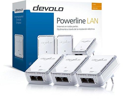 Devolo dLAN 500 duo Network Kit PLC - Kit para adaptador de comunicación por línea eléctrica PLC Powerline (500 Mbps, 3 adaptadores, 2 x LAN puertos, enchufe LAN), blanco
