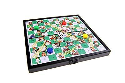 Jeu de société magnétique (version super mini de voyage): Serpents et échelles / le jeu de l'échelle - pions magnétiques, tablier pliant, 12,8cm x 12,8cm x 1cm, Mod. SC3630 (DE)
