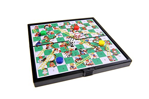 Magnetisches Brettspiel (Super Mini Reise-Edition): Leiterspiel / Schlangen und Leitern / Snakes and Ladders - magnetische Spielsteine, Spielbrett zusammenklappbar, 12,8cm x 12,8cm x 1cm, Mod. SC3630 (DE) - Ladders Snakes