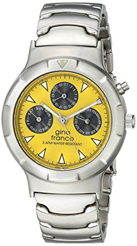 gino Franco Men's 980YL Round Stainless Steel Multi-Function Bracelet Watch