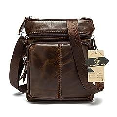 Idea Regalo - koolertron Uomo Borsa a spalla Borsa a tracolla in pelle tipo messenger bag Caffè