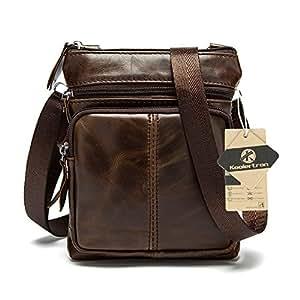 Koolertron Uomo Borsa a spalla Borsa a tracolla in pelle tipo messenger bag (Caffe')