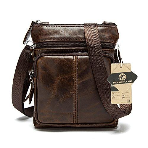 koolertron Uomo Borsa a spalla Borsa a tracolla in pelle tipo messenger bag  Caffè 5806e47d605