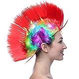 Dsaren LED Súper Brillante Peluca Punk Carnaval Wig Halloween Fancy Dress Party Supplies (Rojo)