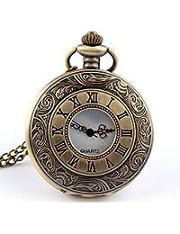 ShopyStore Fashion Retro Pierced Bronze Roman Numerals Quartz Pocket Watch Chain Pendent Pocket Watc