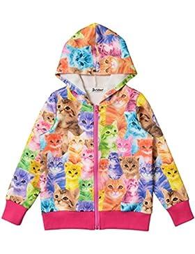 JXStar Little Girls Cat Print Long Sleeve Front Zip Hoodie Jacket Coat