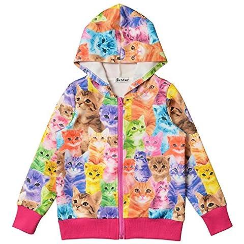 JXStar Little Girls Cat Print Long Sleeve Front Zip Hoodie Jacket Coat 150