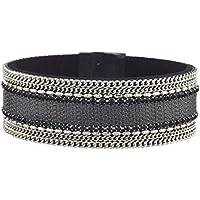 Lux accessori argento tono Curb catena Denim Nero Tazza Catena Braccialetto Magnetico