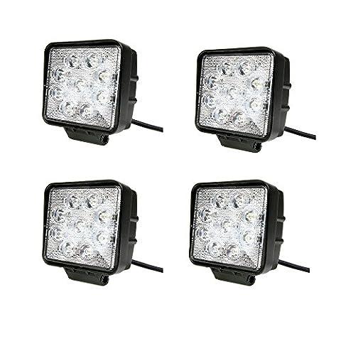 JVJ 4 X Lampe carré LED 27W projecteur spot idéal pour véhicule tout-terrain, chantier, phare bateau, auto 9 - 30V A3