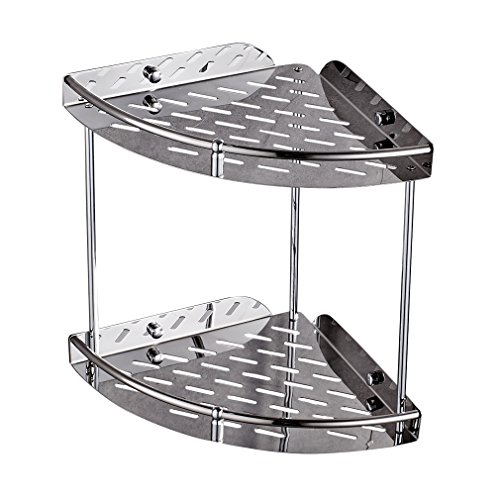 Auralum® Elegant Design Verchromt Bad Eckregal Edelstahl Doppelt Badregal Duschkorb Edelstahl Duschablage für Bad oder Küche