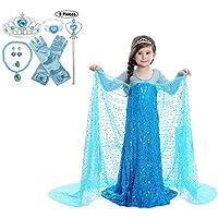 JJAIR Princesa Traje Vestido de Las niñas, de Lentejuelas de Navidad de Halloween Vestidos Vestido clásico Partido de Princesa de la Nieve con Accesorios,Azul,150