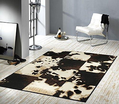Designer Teppich Wohnteppich Teppich moderner Wohnzimmer Teppich Wohnzimmerteppich Läufer 160 cm x 230 cm Teppich Patchwork schwarz mit Kuhfell