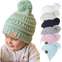 Chicos de Invierno para niñas Sombrero de Punto de Invierno, Bebé Niño Niños Algodón Suave Sombrero de Punto Lindo Cálido Sombrero Beanie para Actividades de Snowboard al Aire Libre (Color : Azul)