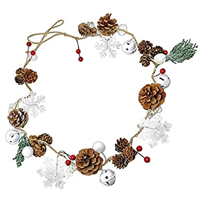 BANBERRY-DESIGNS-Winter-Weihnachtsgirlande-Tannenzapfen-Baumwolle-Kiefer-Schneeflocken-rote-Beeren-rustikales-Bauernhaus-Weihnachten-Home-Decor-114-cm-lang