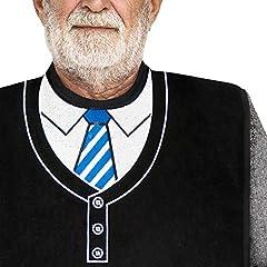 Idea Regalo - Classy PAL | Bavaglia per adulti, per uomo con motivo ricamato. Impermeabile, riutilizzabile e lavabile, colore nero