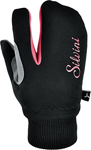 SILVINI Jungen TEXEL Softshell Handschuhe Junior, Black/Punch, 5/6